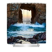 Sunset On Arch Rock In Pfeiffer Beach Big Sur. Shower Curtain by Jamie Pham
