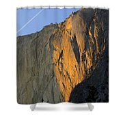 Sunset On Horsetail Fall Shower Curtain by Jim and Emily Bush