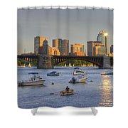 Sunset On The Charles Shower Curtain by Joann Vitali