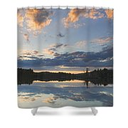 Sunset Over Flying Pond In Vienna Maine Shower Curtain by Keith Webber Jr