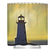 Sunset Over Peggys Cove Lighthouse Shower Curtain by Thomas Kitchin & Victoria Hurst