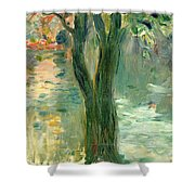 Sunset Over The Lake Bois De Boulogne Shower Curtain by Berthe Morisot