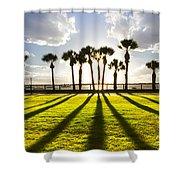 Sunset Sentinels Shower Curtain by Debra and Dave Vanderlaan