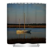 Sunset Sailboat At Beaufort Sc Shower Curtain by Reid Callaway