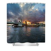 Sunset Waterway Panorama Shower Curtain by Debra and Dave Vanderlaan