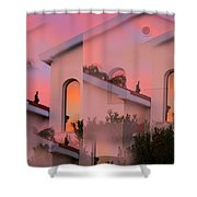 Sunsets on Houses Shower Curtain by Augusta Stylianou