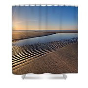 Sunshine On The Beach Shower Curtain by Debra and Dave Vanderlaan