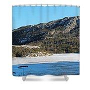 Sunshine - Shadows - Snowmobile Tracks Shower Curtain by Barbara Griffin