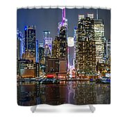 Super Moon At 42nd Street  Shower Curtain by Eduard Moldoveanu