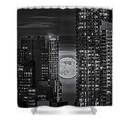 Super Moon Rises Over The Big Apple Bw Shower Curtain by Susan Candelario