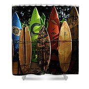 Surfboard Fence 4 Shower Curtain by Bob Christopher