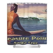Surfer Girl Pleasure Point Shower Curtain by Tim Gilliland