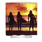 Surfer Girl Silhouettes Shower Curtain by Sean Davey