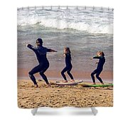 Surfing Lesson Shower Curtain by Stuart Litoff
