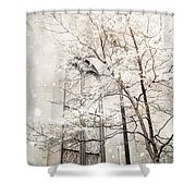 Surreal Dreamy Winter White Church Trees Shower Curtain by Kathy Fornal