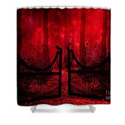 Surreal Fantasy Gothic Red Forest Crow On Gate Shower Curtain by Kathy Fornal
