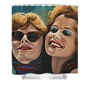 Susan Sarandon And Geena Davies Alias Thelma And Louise Shower Curtain by Paul Meijering