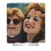 Susan Sarandon And Geena Davies Alias Thelma And Louise Shower Curtain by Paul Meijering