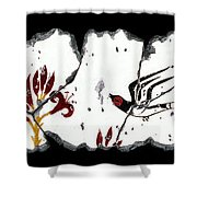 Swallows With Lilies No. 5 Shower Curtain by Steve Bogdanoff