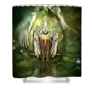 Swan Goddess Shower Curtain by Carol Cavalaris