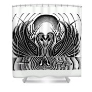Swan Song  Shower Curtain by Barb Cote