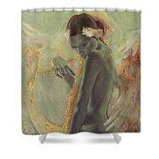Swan Song Shower Curtain by Dorina  Costras