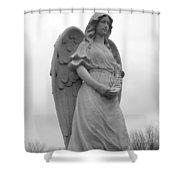 Sweet Seraphim Shower Curtain by Rachel E Moniz