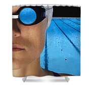 Swimmer With Goggles Shower Curtain by Don Hammond