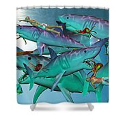 Swimming with the Big Boys Shower Curtain by Betsy C  Knapp