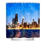 Swirly Chicago At Night Shower Curtain by Paul Velgos