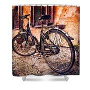 Swiss Bicycle Shower Curtain by Debra and Dave Vanderlaan