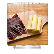 Swiss Food - Dried Meat And Cheese Shower Curtain by Matthias Hauser