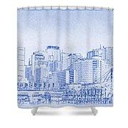 Sydney's Cockle Bay Blueprint Shower Curtain by Kaleidoscopik Photography