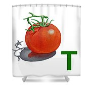 T Art Alphabet For Kids Room Shower Curtain by Irina Sztukowski