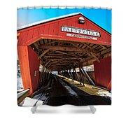 Taftsville Covered Bridge In Vermont In Winter Shower Curtain by Edward Fielding