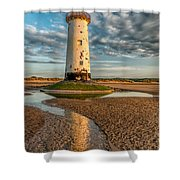 Talacre Lighthouse Sunset Shower Curtain by Adrian Evans