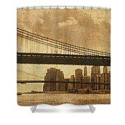 Tale of Two Bridges Shower Curtain by Joann Vitali