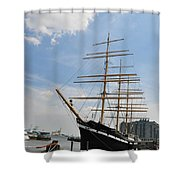 Tall Ship Mushulu At Penns Landing Shower Curtain by Bill Cannon
