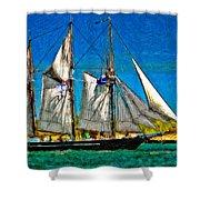 Tall Ship paint  Shower Curtain by Steve Harrington