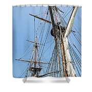 Tall Ship Rigging Shower Curtain by Dale Kincaid