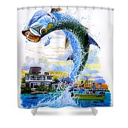 Tarpon Leap Shower Curtain by Carey Chen