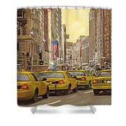 taxi a New York Shower Curtain by Guido Borelli