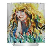 Taylor Swift Shower Curtain by Chrisann Ellis