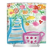 Tea And Fresh Flowers- Whimsical Floral Painting Shower Curtain by Linda Woods