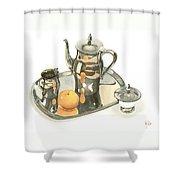 Tea Service With Orange Dramatic Shower Curtain by Kip DeVore