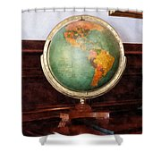 Teacher - Globe On Piano Shower Curtain by Susan Savad