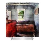 Teacher - One Room Schoolhouse with Hurricane Lamp Shower Curtain by Susan Savad