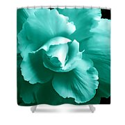 Teal Green Begonia Floral Shower Curtain by Jennie Marie Schell