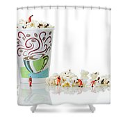 Team Working On Popcorn Shower Curtain by Paul Ge