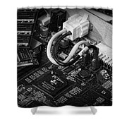 Technology - Motherboard In Black And White Shower Curtain by Paul Ward
